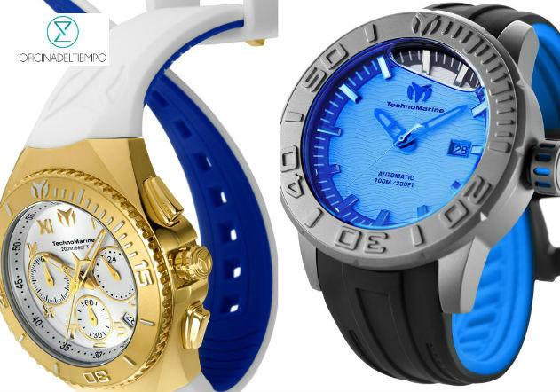 Reloj TechnoMarine original, blaco con dorado y gris con azul