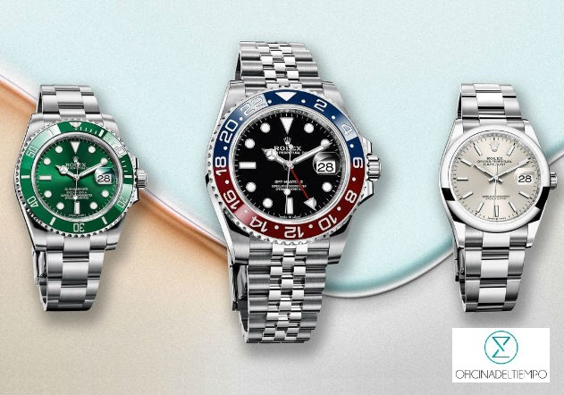 Tres relojes rolex plateados